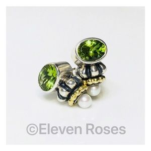 Lagos Caviar Sterling 18k Peridot Pearl Earrings